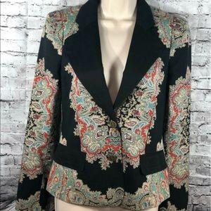 Paisley Print Tailored Lined Black Blazer